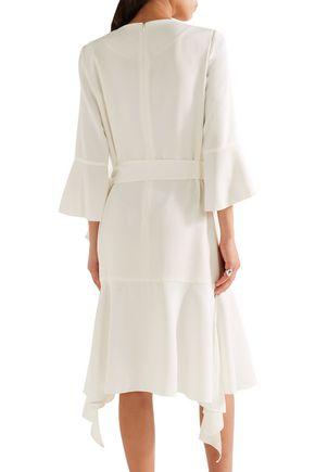 GOEN.J Asymmetric wrap-effect ruffle-trimmed crepe dress