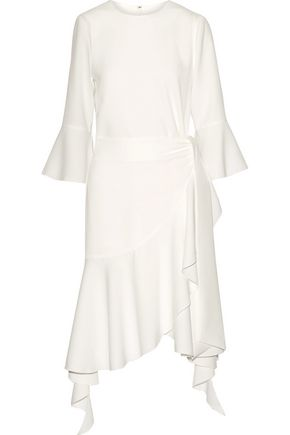 GOEN.J Asymmetric wrap-effect ruffle-trimmed crepe dress