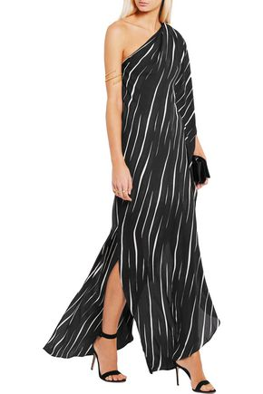 HALSTON HERITAGE One-shoulder printed voile gown