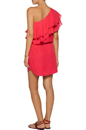 HAUTE HIPPIE One-shoulder ruffled silk mini dress