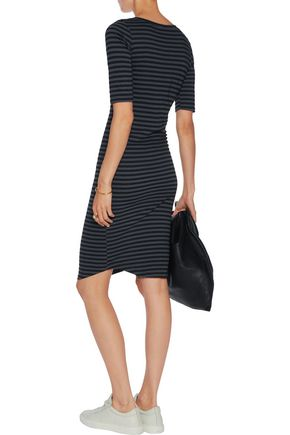 MONROW Striped lace-up cotton-blend dress
