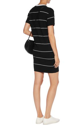 MONROW Striped jersey mini dress