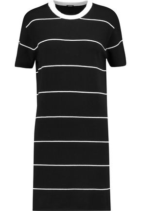 MONROW Striped stretch-knit mini dress