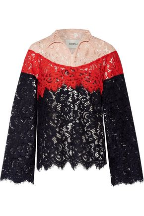 GOEN.J Color-block cotton-blend corded lace jacket