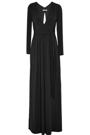 HALSTON HERITAGE Cutout pleated jersey gown