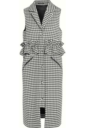 MOTHER OF PEARL Corbett ruffled checked poplin gilet
