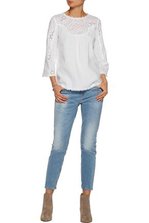 M.I.H JEANS Fringed broderie anglaise linen and cotton-blend blouse