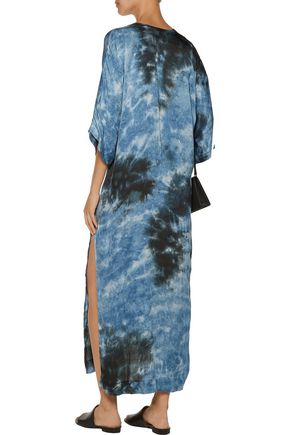 ENZA COSTA Tie-dyed satin maxi dress