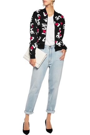 LOVE MOSCHINO Printed cotton-jersey bomber jacket