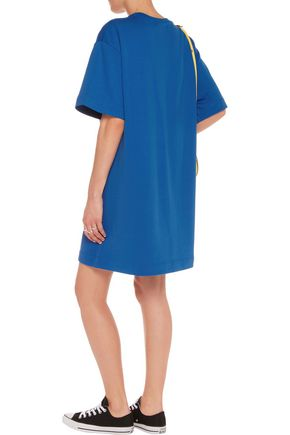 LOVE MOSCHINO Appliquéd cotton mini dress