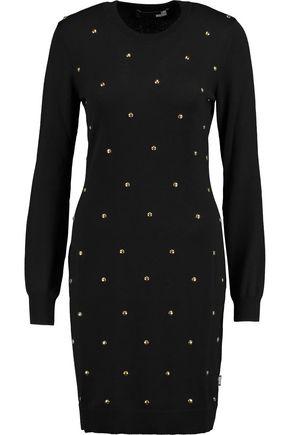 LOVE MOSCHINO Vestito stud-embellished wool dress