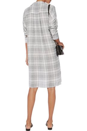JAMES PERSE Plaid broadcloth shirt dress