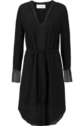 BY MALENE BIRGER Belted chiffon-trimmed crepe dress