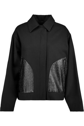 MM6 by MAISON MARGIELA Faux glossed-leather and wool-blend jacket