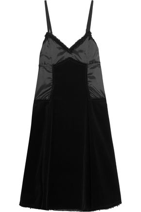 MM6 by MAISON MARGIELA Frayed cotton-velvet and twill dress ...