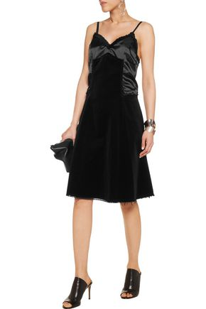 MM6 MAISON MARGIELA Frayed cotton-velvet and twill dress