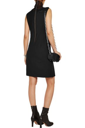 MM6 MAISON MARGIELA Mesh-paneled stretch wool-blend dress