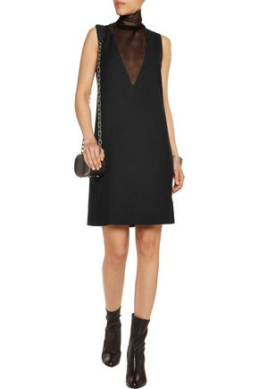 MM6 MAISON MARGIELA Mesh-paneled stretch wool-blend dress