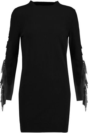 MM6 MAISON MARGIELA Fringed cashmere and wool-blend mini dress