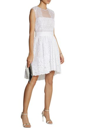 ALBERTA FERRETTI Silk-organza and broderie anglaise cotton dress