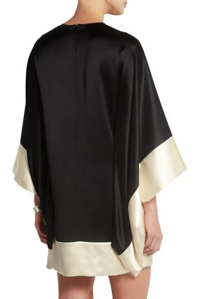 ALEXANDER MCQUEEN Two-tone silk-satin mini dress