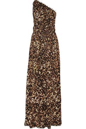 ROBERTO CAVALLI One-shoulder leopard-print silk-chiffon gown