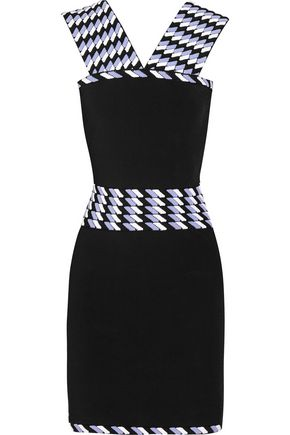 CHRISTOPHER KANE Jacquard-paneled stretch-knit dress