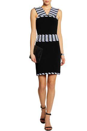 CHRISTOPHER KANE Jacquard-paneled stretch-knit dress