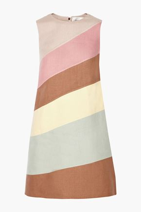 VALENTINO GARAVANI Color-block linen mini dress