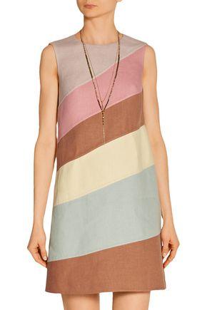 VALENTINO Color-block linen mini dress