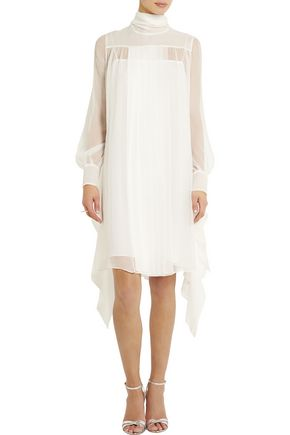 MIU MIU Pleated draped chiffon dress