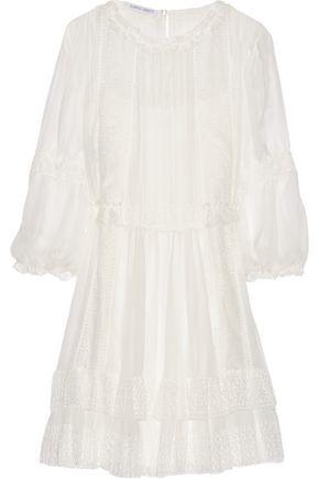 ALBERTA FERRETTI Lace-appliquéd silk-chiffon mini dress