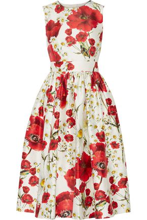 DOLCE & GABBANA Floral-print cotton and silk-blend dress