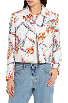 FENDI Bird of Paradise printed matelassé satin jacket