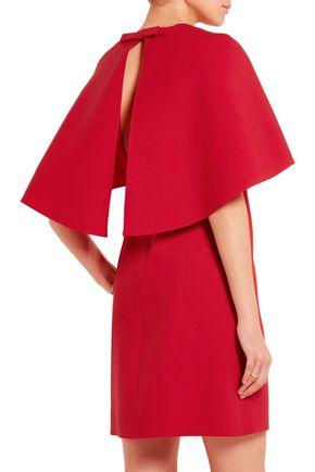 VALENTINO Cape-effect wool and silk-blend crepe mini dress