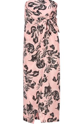 CEDRIC CHARLIER Printed washed-silk midi dress