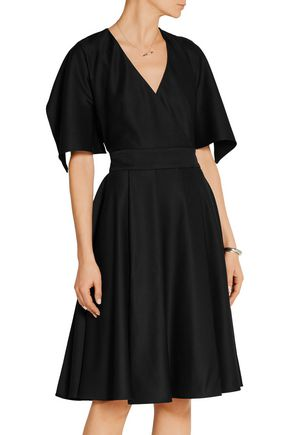 ALEXANDER MCQUEEN Cape-sleeve grain de poudre wool wrap dress