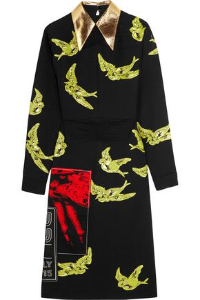 MIU MIU Python-trimmed sequined crepe dress