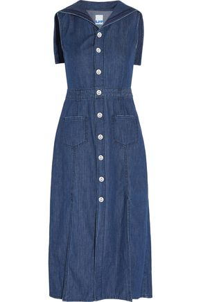 SJYP Embroidered denim midi dress