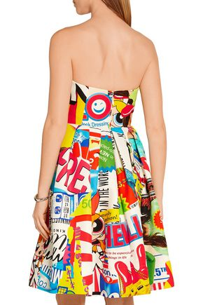 MOSCHINO Strapless printed cotton-blend faille dress