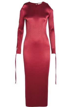 BARBARA CASASOLA Cutout plissé-satin midi dress