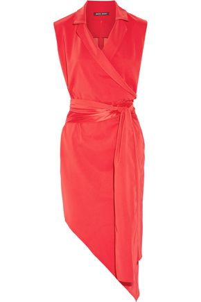 BAJA EAST Asymmetric satin-trimmed crepe dress