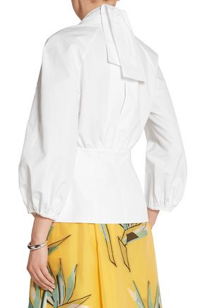 FENDI Cotton-taffeta wrap top