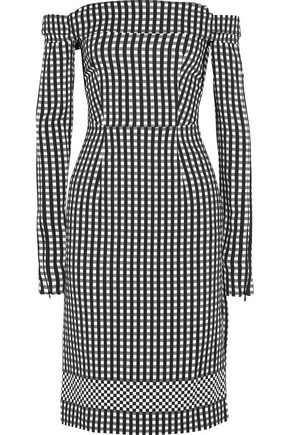 PREEN by THORNTON BREGAZZI Olivia off-the-shoulder gingham crepe dress