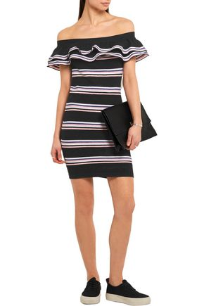 MSGM Off-the-shoulder striped stretch cotton-blend mini dress