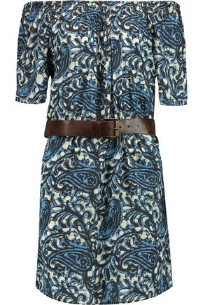 MICHAEL MICHAEL KORS Kathumar belted printed cotton mini dress
