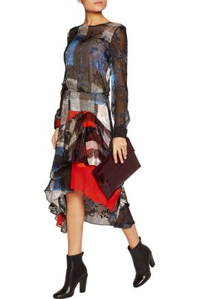 PREEN by THORNTON BREGAZZI Agata printed devoré silk-blend chiffon dress