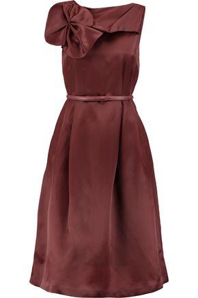 RAOUL Asheville Rosette belted silk-taffeta dress