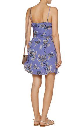 JOIE Ruffled printed silk-georgette mini dress