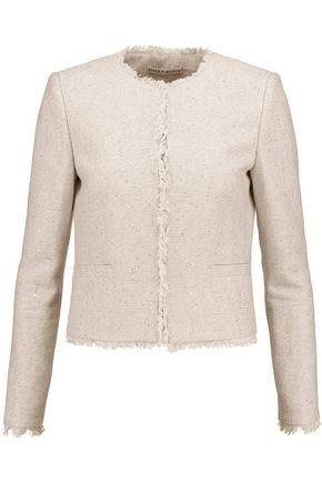 ALICE + OLIVIA Kidman sequinned frayed cotton-blend jacket